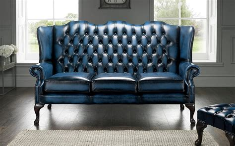 what is a settee blue chesterfield 3 seater high back chair designersofas4u
