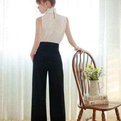 Women Sexy Fashion Casual High Waist Flare Wide Leg Long Pants Palazzo Trousers on Luulla