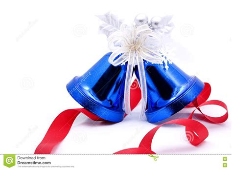 christmas bells bow ribbon blue christmas bells and red bow ribbon stock image image 17499571