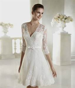 Short white wedding dresses with sleeves naf dresses for Short white wedding dress with sleeves