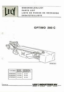 Lely Mower Optimo 280 C Parts Manual