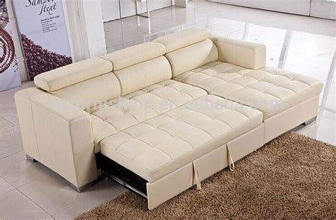 Luxury L Shape Multi Purpose Leather Sofa Cum Bed With