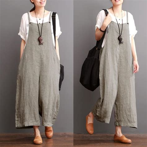 fashion tunik cotton linen sen department causel overalls big