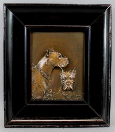 antique original fritz diller german bronze dog plaque boxer  great dane ebay