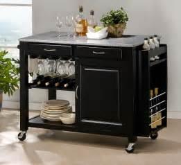 Black Kitchen Islands Modern Black Kitchen Island Cart Cabinet Wine Bottle Glass Rack Granite Top New Ebay