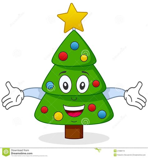 happy christmas tree character stock vector image 27088774
