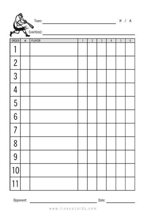 custom recreational baseball league lineup cards  part