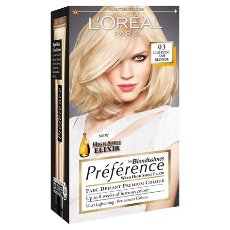 What Is The Lightest Hair Dye by L Oreal Preference Les Blondissimes 03 Lightest Ash