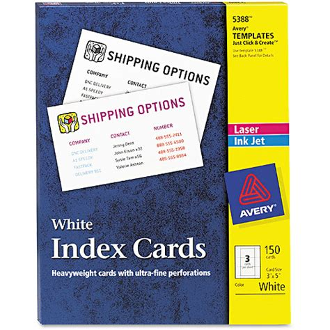 avery 5388 template avery 5388 laser inkjet index card avi depot much more value for your money