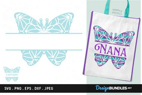 butterfly split monogram frame svg cut file printable