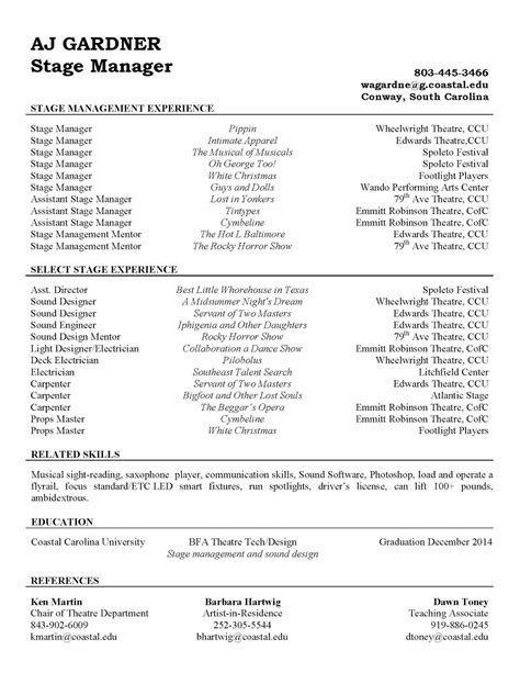 Stage Manager Resume by Aj Gardner Theatre Technician Stage Manager Resume