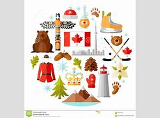 Traditional National Symbols Of Canada Set Of Canadian