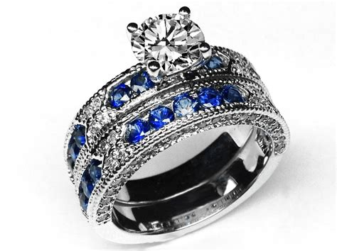 Diamond Wedding Sets With Sapphire Accents