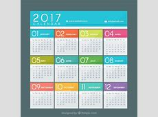 Colorful calendar of 2017 Vector Free Download