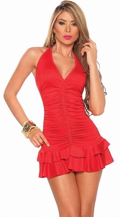Mini Ruched Flirty Dresses Short Ruffle Hem