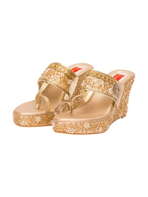 buy essemm wedges golden motif wedges at jivaana
