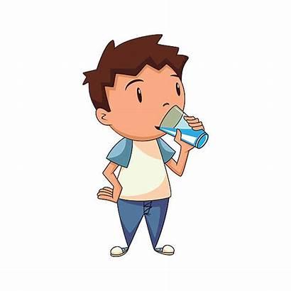 Drinking Water Boy Clipart Child Vector Drink