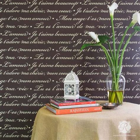 french love letters wall stencils stenciling  diy