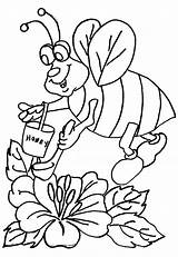 Bee Coloring Honey Printable sketch template