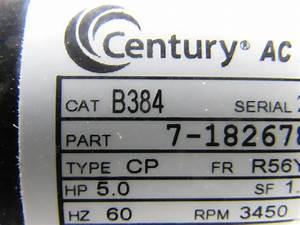 Century B384 5 Hp Air Compressor Electric Motor Capacitor