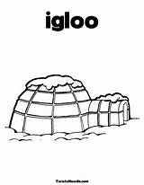 Igloo Coloring Pages Winter Theme Twistynoodle History sketch template