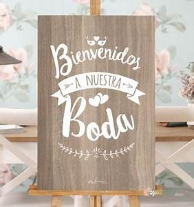 Cartel de bienvenida para boda en madera y blanco