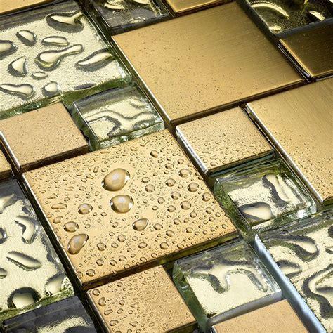 Glas Mosaik Fliesen Edelstahl Vergoldet Mosaik