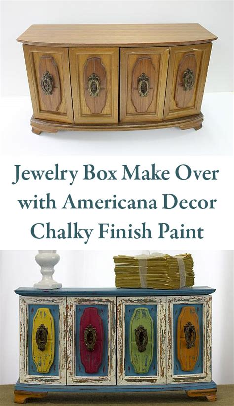 americana decor chalky finish paint lace distressed bohemian jewelry cabinet project by decoart