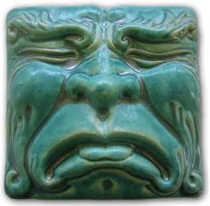 pewabic pottery tile tragedy mask art tiles