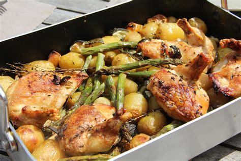 cuisine et vin de recettes poulet roti au vin blanc pommes de terre asperges vertes