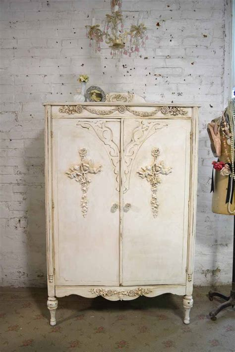 antique shabby chic armoire painted cottage chic shabby french romantic armoire war am198 595 00 the painted