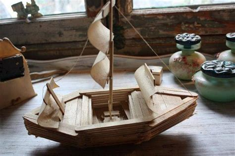 How To Make A Boat Using Craft Sticks by Crafts Made With Popsicle Sticks Upcycle Art