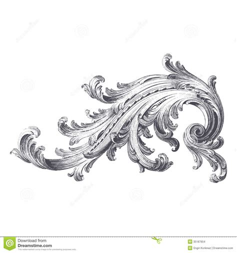 acanthus scroll stock vector image  engraving filigree