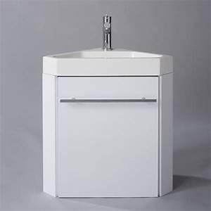 Lave Main Suspendu : lave main d 39 angle suspendu avec meuble blanc pas cher ~ Nature-et-papiers.com Idées de Décoration