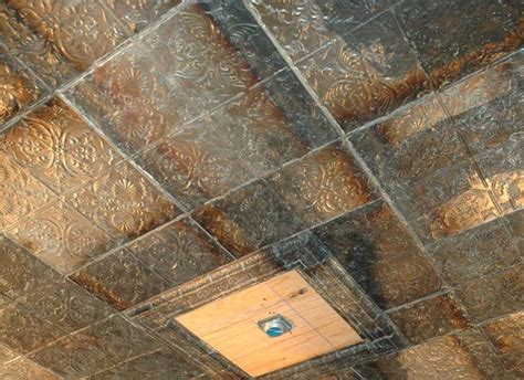 Metal Ceiling Tiles Hanging Tins Up Staple Paintable