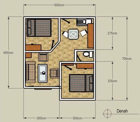 denah rumah minimalis  lantai tipe  sederhana  kamar