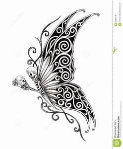 Art Skull Fairy Tattoo. Stock Illustration - Image: 62328478