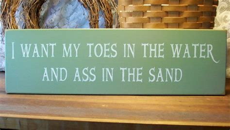 toes   water wood beach sign wall decor