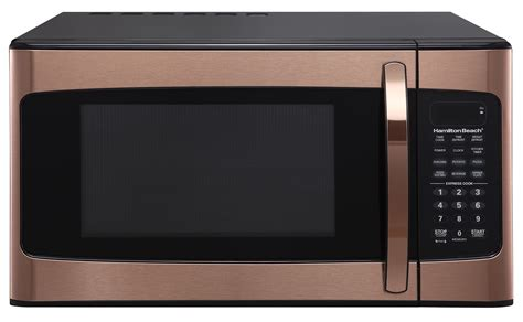 hamilton beach  cu ft kitchen microwave oven cooking copper  led display  ebay