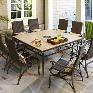 Hampton bay pembrey 9 piece patio dining set with lumbar for Pembrey 9 piece patio dining set