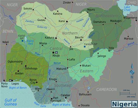 political  regions map  nigeria nigeria political