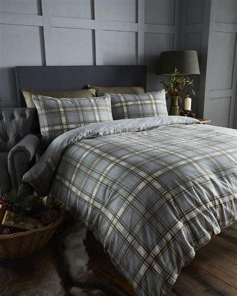 Brushed Cotton Duvet Cover - 100 brushed cotton tartan quilt duvet cover pillowcase