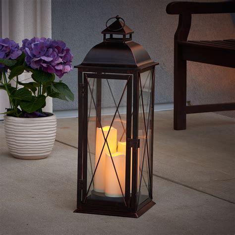 salerno led candle lantern antique brown smart