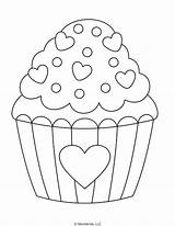 Coloring Heart Cupcake Pages Sprinkles Printable Valentine Mombrite Cupcakes Templates Kid Give Friend Sheet sketch template