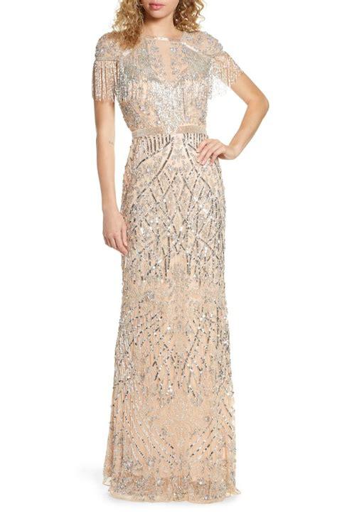 Mac Duggal Sequin Fringe Detail Gown   Nordstrom   Long ...