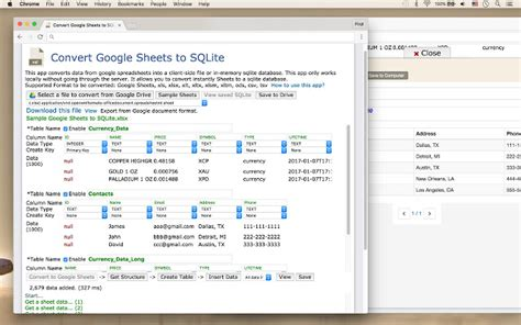 convert google sheets to sqlite chrome web store