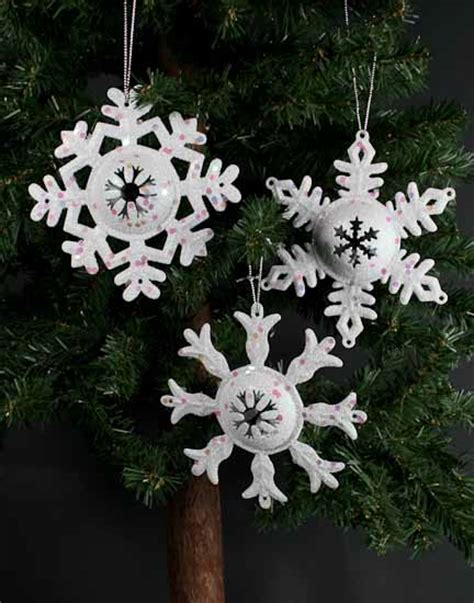 white glitter metal snowflake ornament christmas ornaments christmas and winter holiday crafts