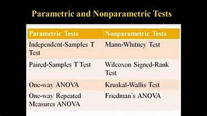 Parametric And Nonparametric Statistical Tests Youtube