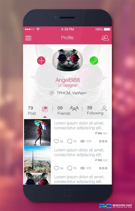 app profile ui psd