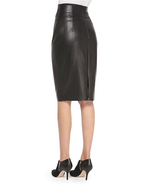 High Waist Faux Leather bailey 44 high waist faux leather pencil skirt in black lyst